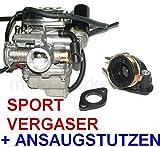RACING VERGASER 24mm ANSAUGSTUTZEN KOMPLETT für ZNEN ZN125T-F RETRO 125