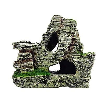 xmelug Aquarium Landscape Ornaments Decoration,Artificial Moss Rock Resin Stone Mountain Fish Tank Hiding Cave Home Decor