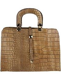 6b0ab1aea243f Chicca Borse Sac à main femme avec épaule en cuir véritable Fabriqué en  Italie Modèle Python