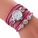 LSAltd Damen Art und Weisediamant-Verpackung Um Uhr Lederoid Quarz Armbanduhr (Pink 1)