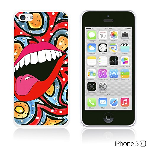 OBiDi - Funny Pattern Hardback Case / Housse pour Apple iPhone 5C - A TO Z Lip In Red Paisley Bacground