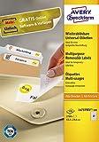 AVERY Zweckform L4737REV-100 Universal-Etiketten (A4, 2,700 Etiketten ablösbar, 63,5 x 29,6 mm, 100 Blatt) weiß