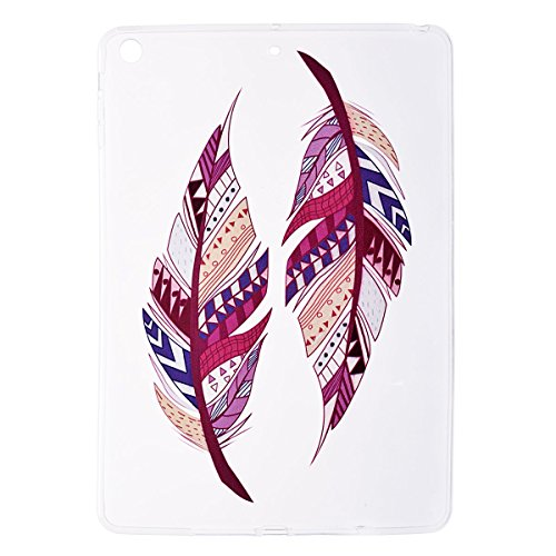 GrandEver Custodia per Apple iPad Air / iPad 5 Ultra Slim TPU Back Case Custodia Transparente Verrà Protetto da Sporco e Graffi per iPad Air/iPad 5 Custodia in Silicone - Piuma Tribale