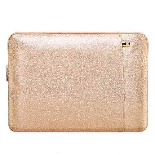 MoKo Glitzer Sleeve Tasche Kompatibel mit MacBook Air 13 / MacBook Pro Retina 13 / iPad Pro 12.9 / Asus ZenBook 13.3, PU Leder Laptoptasche - Rose Gold Glitzer