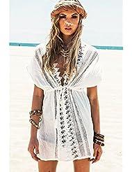 qxj 2016-new Hollow de sol en primavera y el verano ropa hembra a de color blanco blusa de manga corta de las mujeres vestido de playa Sun, Blanco,
