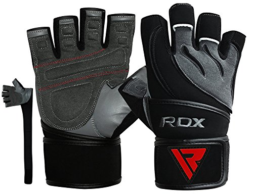 RDX Fitness Handschuhe Crossfit Trainingshandschuhe Lang Handgelenkstütze Sporthandschuhe Rindsleder Gewichtheben workout Bodybuilding Gym Gloves krafttraining