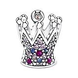 KAAYAH - Prinzessinnen Krone - Damen Charm-Anhänger, 925 Sterling Silber Bead mit rosa, lila und pinken Zirkonia Perle für Charms-Armband