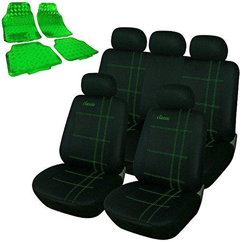 Universal Auto Sitzbezüge Sitzbezug Set , inkL. Fußmatten Matten , ALU Look Chorm optik Riffelblech , Classic Grün, 7272+7159