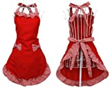 Veewon Schürzen für Frauen-Mädchen-nette Retro Bowknot Cotton Cooking Restaurant Arbeit Individuelle Küchen-Schürze mit Taschen Gartenhaus (Rot)
