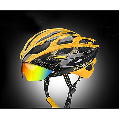 Los hombres y las mujeres de montar integralmente moldeadas gafas de seguridad casco de bicicleta de montaña casco Casco Gafas sombrero ( Color : Black And Yellow )