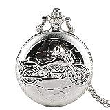 Trendy Taschenuhr, Motorräder 3D Muster Pocket Quarzuhren für Männer, Taschenuhr Geschenk