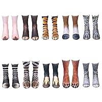 JasmineLi Novelty 3D Printed Animal Paw Crew Socks Funny Animal Foot Hoof Medium Tube Breathable Socks
