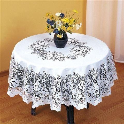 Nappe en dentelle blanche pour table ronde 122cm