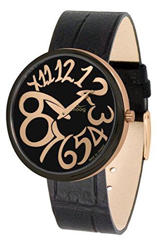 Moog Paris Ronde Art-Deco Women's Watch with Black Dial, Black Strap in Genuine Leather - M41671-E51