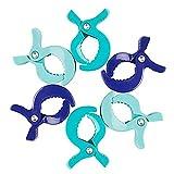 VOYAGE 6er Pack Klammer-Clips zur Befestigung von Musselintüchern, Abdeckungen, Decken oder Spielzeug an Kinderwagen oder Autositz (junge)