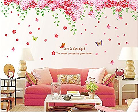 ufengke® Romantic Cherry Blossom Butterflies Wall Decals, Living Room Bedroom Removable Wall Stickers Murals