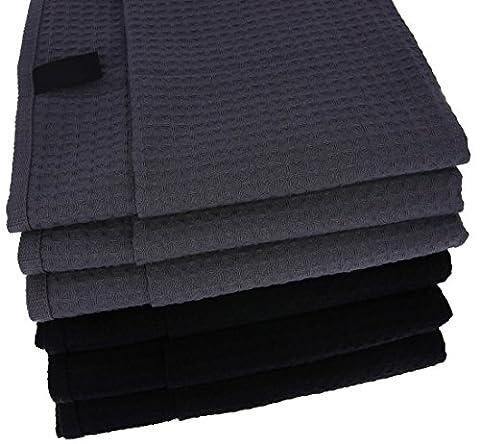 6x Geschirrtücher / Tücher aus 100% Baumwolle Waffel-Piqué in 3x anthrazit und 3x schwarz