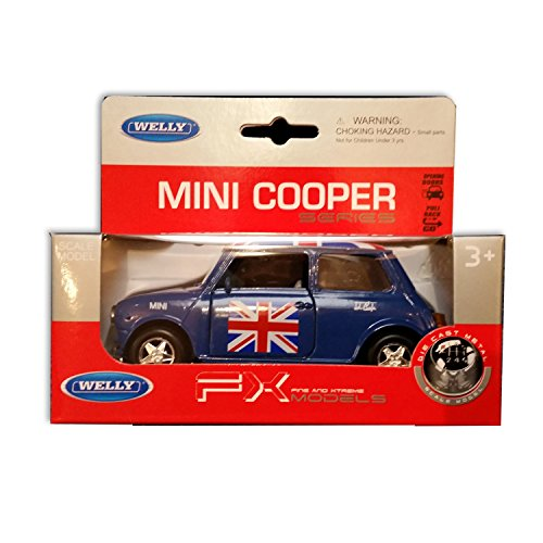 detailed-blue-welly-brand-diecast-metal-old-style-mini-cooper-union-jack-top-collectable-uk-model-ca