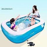 WEIFAN-1 Family Swim Pool, rechteckiger Pool mit Zwei Ringen, Größe: 201x150x51cm,...
