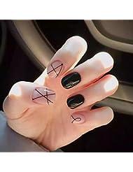 lzndeal 24 PCs/Set Faux ongles autocollants courts, Faux bouts d'ongles acrylique avec colle - lait solide rose noir
