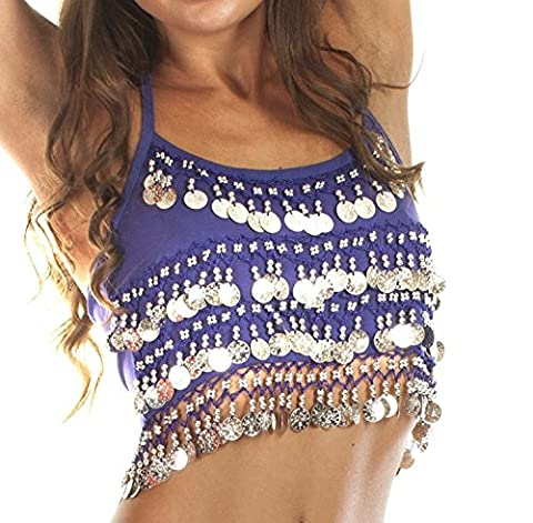 Camisole Halter Crop Top for Belly Dance (Blue/Silver)
