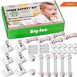 Kits de Seguridad para Bebés y Niños, Cerradura de Protección con Imán 6+2, Bloqueo de Seguridad Corto y Largo 5+5, Tapa Enchufes del Bebé +10 para Armario, Cocina, Cajón, Mueble 28PCs