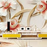 BZDHWWH Benutzerdefinierte Fototapete 3D Wohnzimmer Tv Sofa Reichen Dreidimensionale Relief Magnolie Bloom 3D Große Wand Wandbilder Tapete,180cm (H) x 270cm (W)