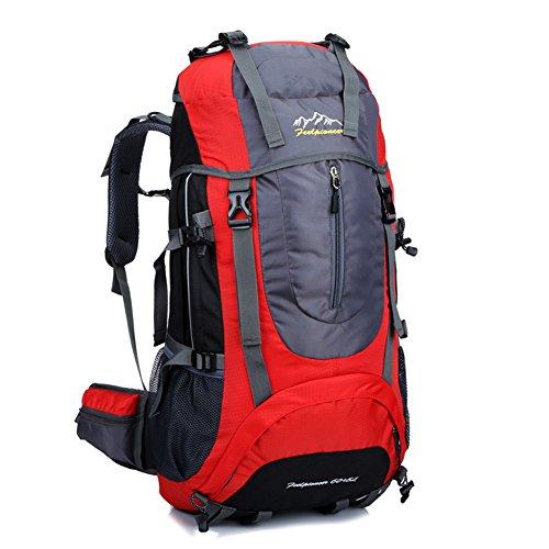 etach 65L Multifunktionale Outdoor Sport Wandern Wasserdicht Single Travel Rucksack Rot