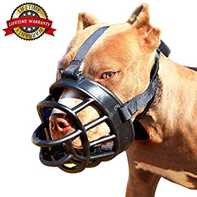 Jinzhao Dog Muzzle-Soft Basket Muzzle for Dogs Adjustable and Comfortable Secure Fit,Best to Prevent Biting,Chewing and Barking from Anhao