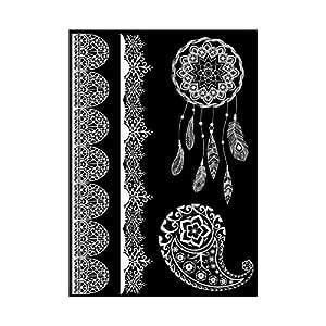 tattoos f r die haut im henna design farbe wei motiv 2. Black Bedroom Furniture Sets. Home Design Ideas