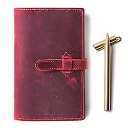 Echtes Leder Tagebuch Notebook 6-ring Binder A6Reisende Notebook A6 Rot
