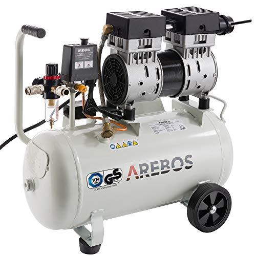 Arebos Flüsterkompressor 24 Liter | 800 W | Ölfrei | 54,5 dB | GS geprüft von TÜV Süd | Euro Schnellkupplung 120 L/min