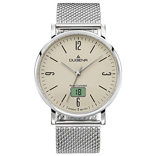 Dugena Herren Funk-Armbanduhr, Saphirglas, Milanaise-Armband, Mondo Funk, Silber/Beige, 4460847
