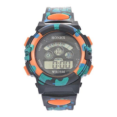 Souarts Kinder Sport Digitaluhr LED Uhr mit Wecker Multifunktion Silikon Armband Digital Display uhr für Jungen Mädchen Tarnung Farbe Orange