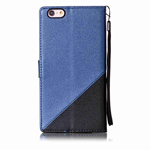 Custodia iPhone 6 Plus/iPhone 6s Plus(Slot per Schede), BasicStock Flip Two-Color PU Pelle Portafoglio Notebook Case Pouch with Card Holder/Kickstand Magnetico Snap Cover Copertura(Blu S