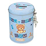 Baby Junge Spardose in blau - Baby Geburt Sparbüchse Sparschwein Geburt