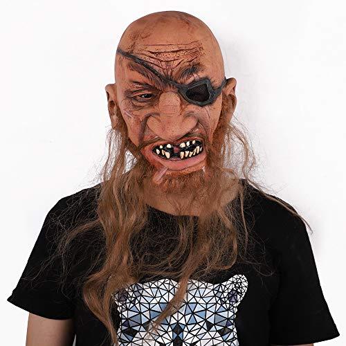 LH Zhenzhi Halloween Maske Bärtigen Piraten Latex Maske Cosplay Für Party (Große Bärtige Kostüm)