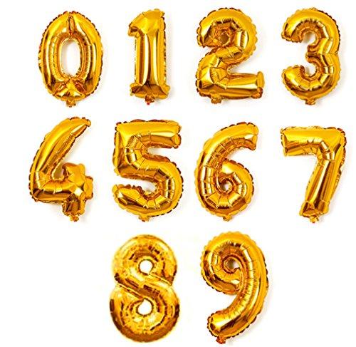 Preisvergleich Produktbild Omos Aluminium Ballons Folie Film große digitale Zahl aufblasbare Ballons Geburtstag Ferien Party Dekoration Hochzeit Ziffer ,Gold (5)