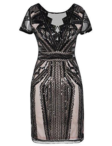 Kayamiya 1920er Jahre kurze Ballkleider V-Ausschnitt inspiriert Pailletten Cocktail Gatsby Kleid M...