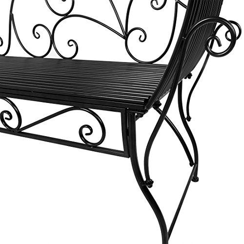 HLC Metall Klassische Bank Gartenbank Liegestuhl aus Eisen 110*44*85 CM - 6