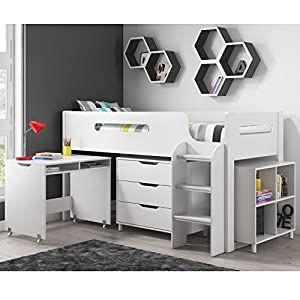 Dynamo White Cabin Bed Midsleeper + Ladder Can Be Fitted Either Side! + Storage With Desk + FREE UK Delivery