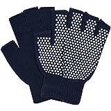 IRIS Fitness Grippy Yoga Gloves, Non-Slip Fingerless Design (Black)
