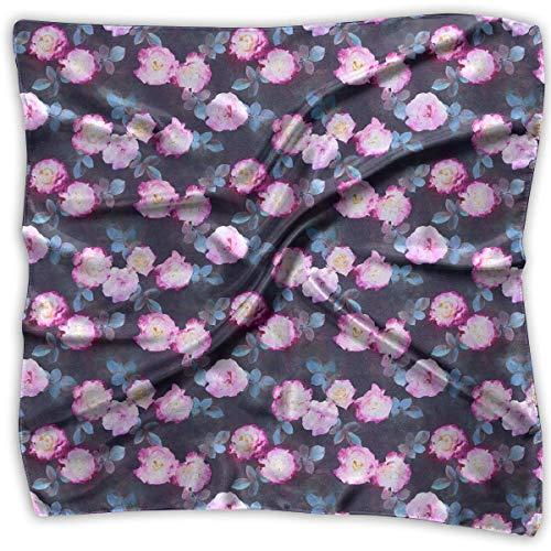 Zcfhike Damen Mädchen Rosen Botanisch gemalt Blumenmuster Quadratischer Halstuch Kopftuch Satin Schal - Botanische Rosen