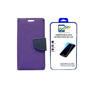 Mobi Fashion Flip Cover For HTC Desire One X9 With Tempered Glass - Purple