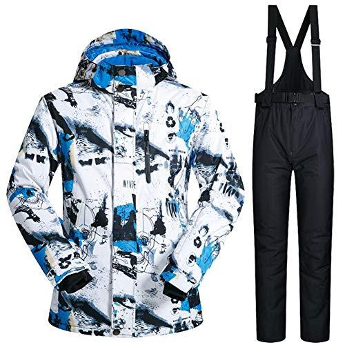 iBaste Schneeanzug Herren Skianzug 2tlg Skijacke mit Kapuze+Skihose Outdoorjacke Regenjacke Softshell Jacke Wasserdicht atmungsaktiv Funktionsjacke Winddicht,wasserdicht, atmungsaktiv