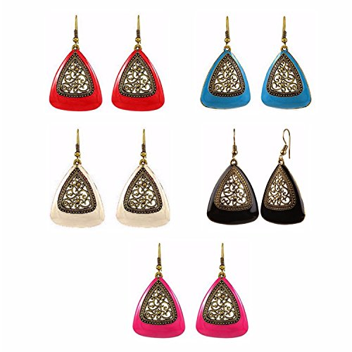 Efulgenz Jewellery Combo of Oxidised Antique Fancy Party Wear Dangler Earrings for Girls and Women