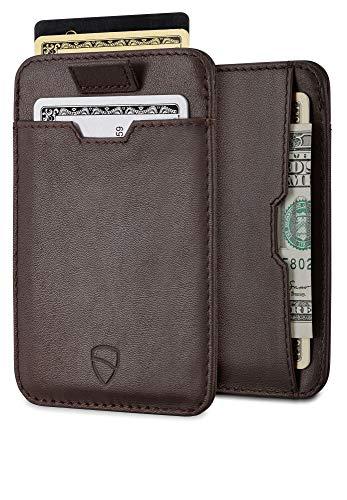 Vaultskin CHELSEA Kartenetui mit RFID Schutz. Leder Geldbörse für Kreditkarten und Ausweise. 3 Fächer für bis zu 8 Karten (Braun) -