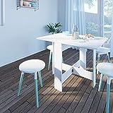 Symbiosis 2050A2198X00 Contemporain Table Pliante avec 2 Abattants Blanc/Béton 103 x 76 x 73,4 cm