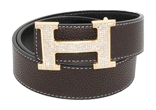 QHA Mens Designer Reversible Leather H Belt Diamond Buckle Q5004