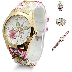 Estone Hot Fashion Women Dress Watch Silicone Printed Flower Causal Quartz Wristwatches (Wine Red)